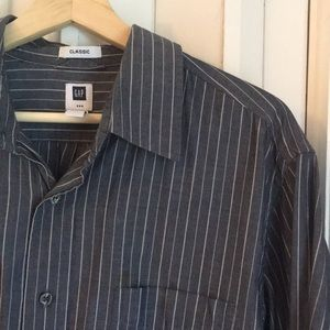 Slate striped classic Gap button down sz L EUC